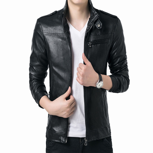 mens leather jackets and coats Slim Collar mens winter leather jackets Long-sleeved casual leather avirex leather jackets black