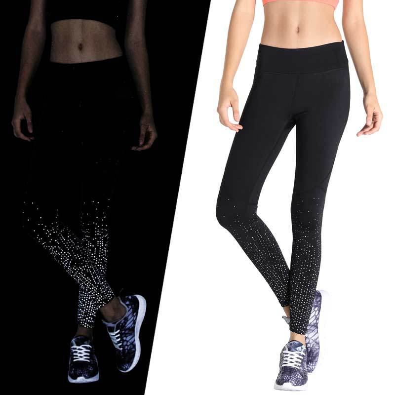 Ladies Reflective Printed Running Sweatpants Pilates Fitness Women Girl Slim Skinny Long Pants H9