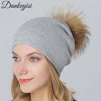 DANKEYISIจริงขนหมวกฤดูหนาวบิ๊กแรคคูนPom Pomหมวกผู้หญิงอุ่นหนายืดขนสัตว์ถักขนพู่S Kullies B Eanies Bonnet