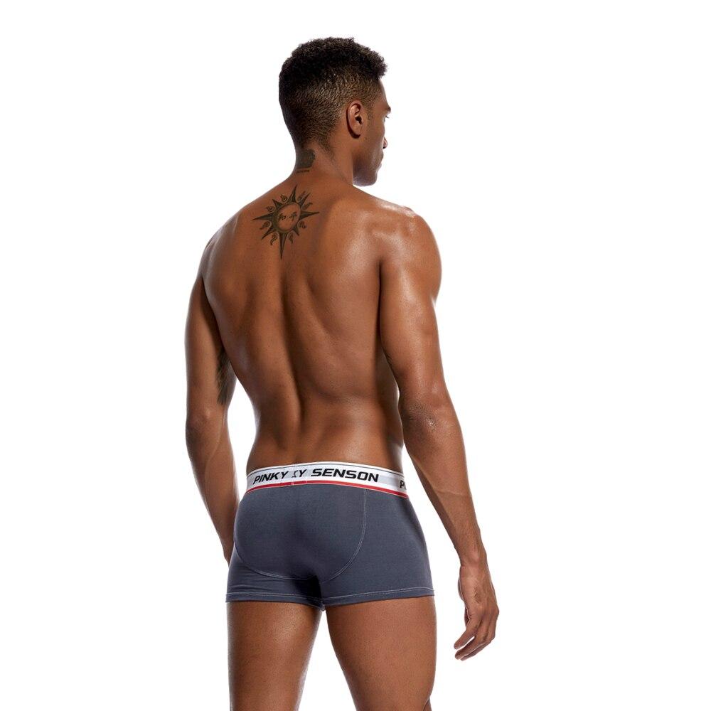 4pc/lot Pinky Senson Men Push Up Underwear Boxers Shorts Soild Bright Color Sexy Cotton Men Underwear Knickers Male Underpants