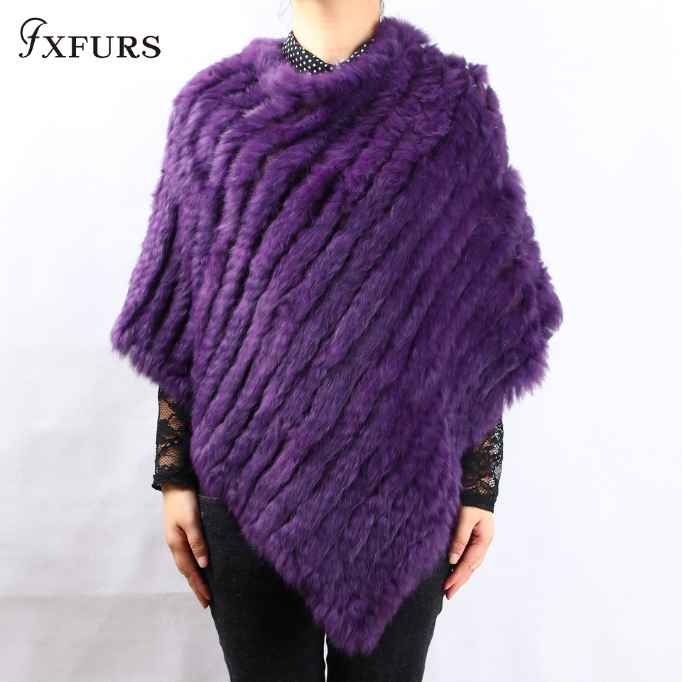 FXFURS 2019 Spring Autumn Genuine Real Knitted Rabbit Fur Poncho Wrap Scarves Women Natural Rabbit Fur Shawl Triangle Cape