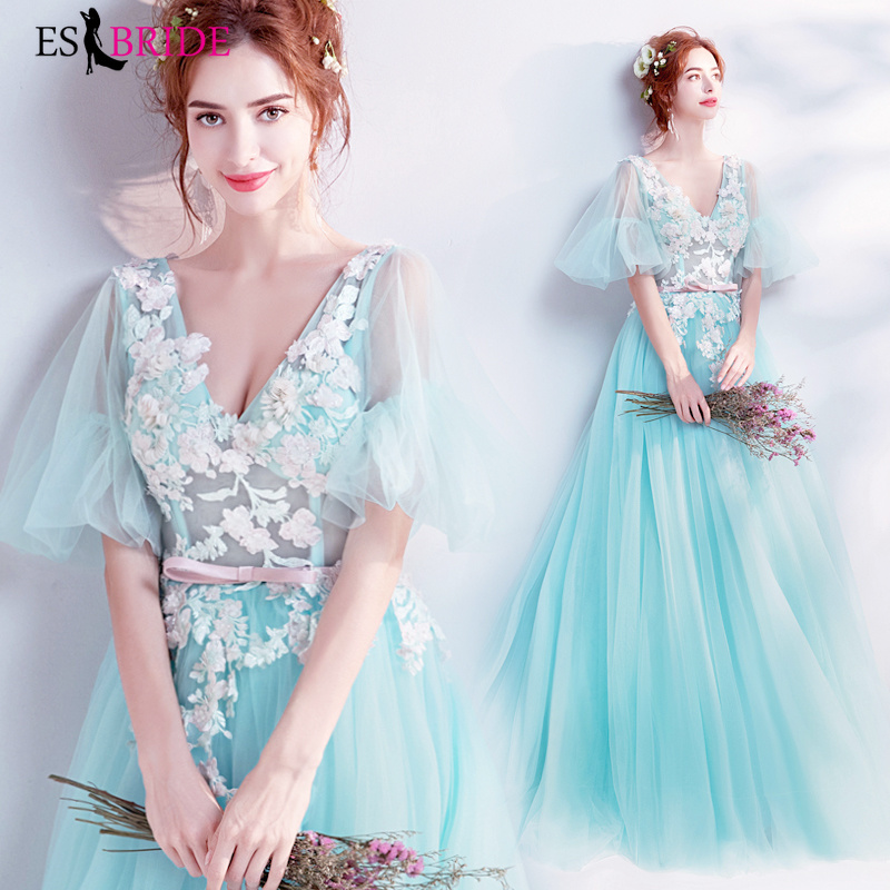 Sky Blue Women Elegant V-neck Sexy Long Evening Dresses Short Sleeve Formal Lace V-neck Party Evening Dresses Plus Size ES2216