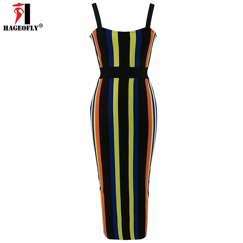 Soirée Robe Nouveau Striped Longueur Moulante Hageofly Rayonne Bandage 2017 Robes Femmes Sexy De Rayé Genou vnOEO68