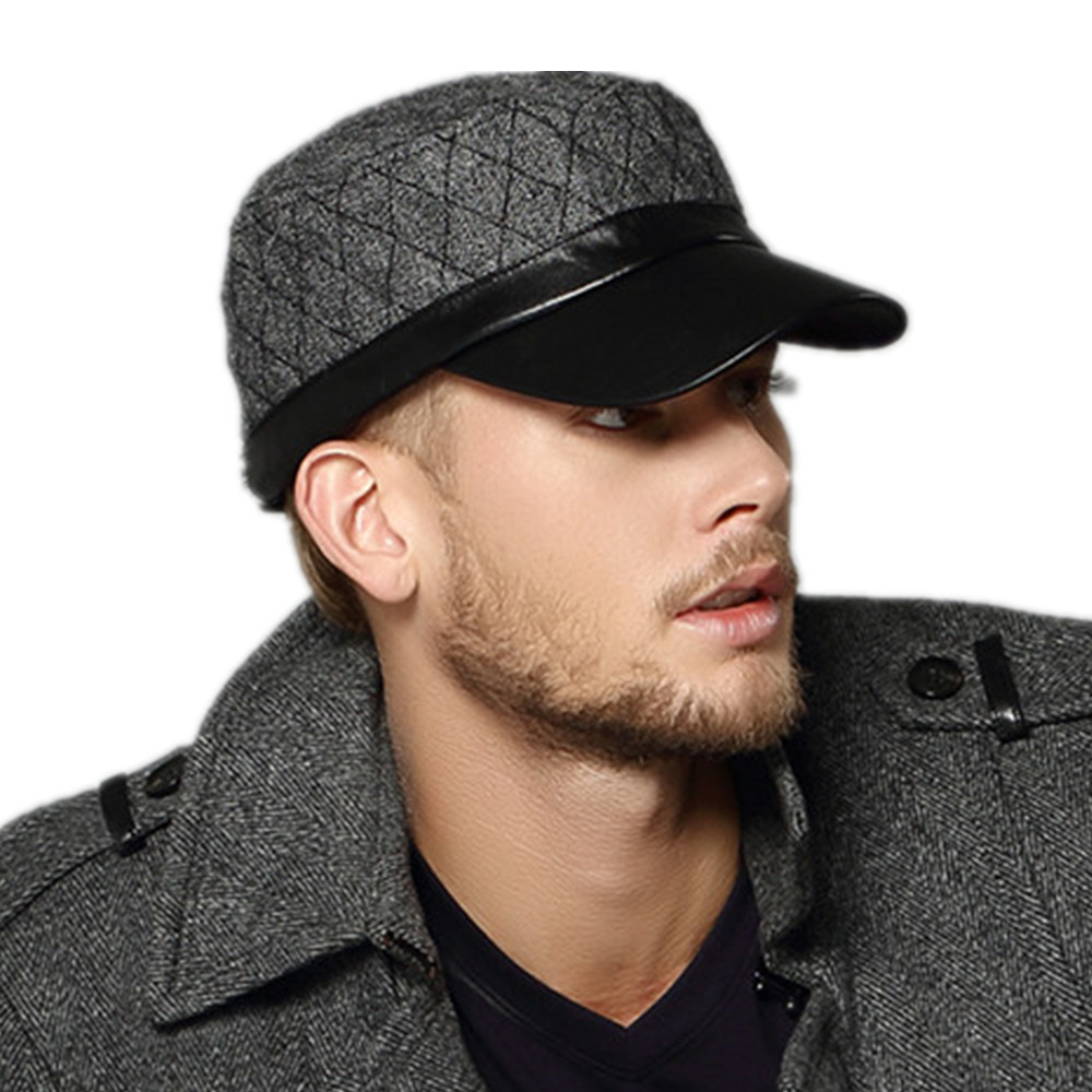 0ee990140ad Free Shipping Kenmont brand Men Outdoor Flat Top Wool Military Army  Baseball Cap Sun Hats Goatskin Genuine Leather Visors 0571-in Baseball Caps  from Apparel ...