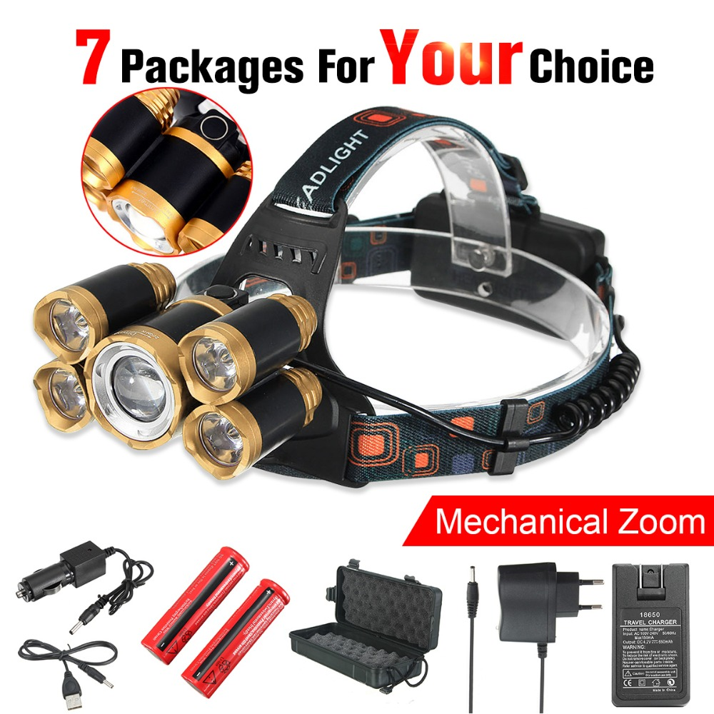 50000 Lumens 5*LED T6 Headlight 4Modes Zoomable Headlamp 18650/USB Rechargeable Head Light Lamp Flashlight Torch For Camping new cree xml2 t6 usb rechargeable headlamp headlights headlight 18650 head lamp for camping led flashlight