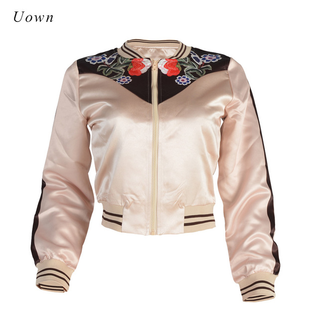 b6161e706 US $13.79 25% OFF|Satin Bomber Jacket Women Floral Embroidery Short Coat  Basic Outwear 2018 Autumn Fashion Khaki Chic Cropped Jacket for Ladies-in  ...
