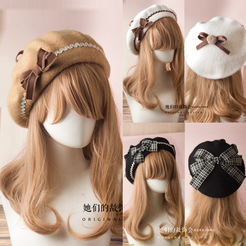 17 Colors Lolita Berets Wool Blend Hat Women Girls Bow Plaids Stripe Sailor Style Preppy Chic College Students Cap