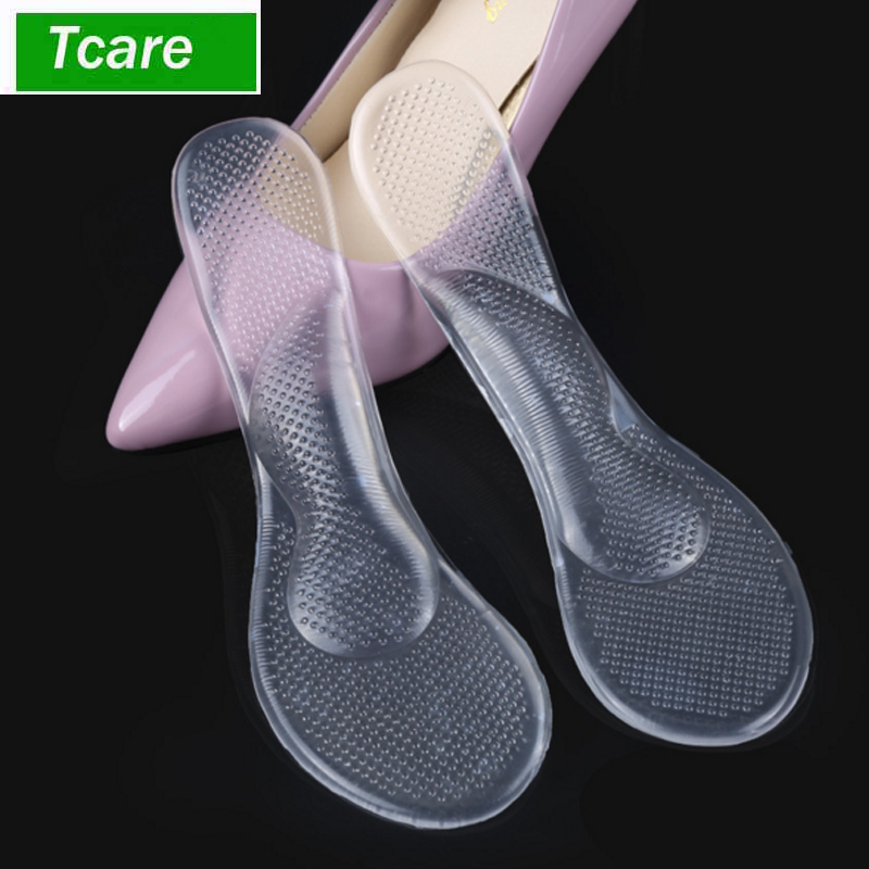1Pair Foot Massage Care Women Lady Silicone Arch Support Metatarsal Pad Cushion Self-adhesive Antiskid Flat Foot Shoes Insoles