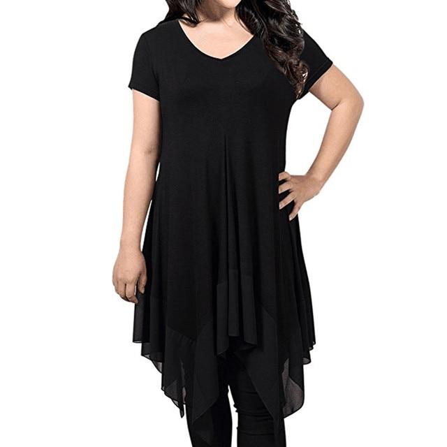 92158feafcba Wholeale Favorable price Womens Plus Size Irregular Hem Short Sleeve Loose Shirt  Dress Modal Solid Mid-calf Dress  31945