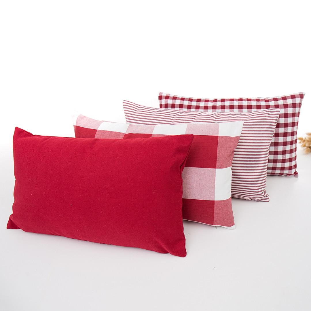 1 St 30x50 Cm Streep Plaid Kussenhoes Rood Wit Eenvoudige Sierkussen Case Katoen Polyester Kussensloop Voor Thuis Slaapkamer Decor Elegant En Stevig Pakket