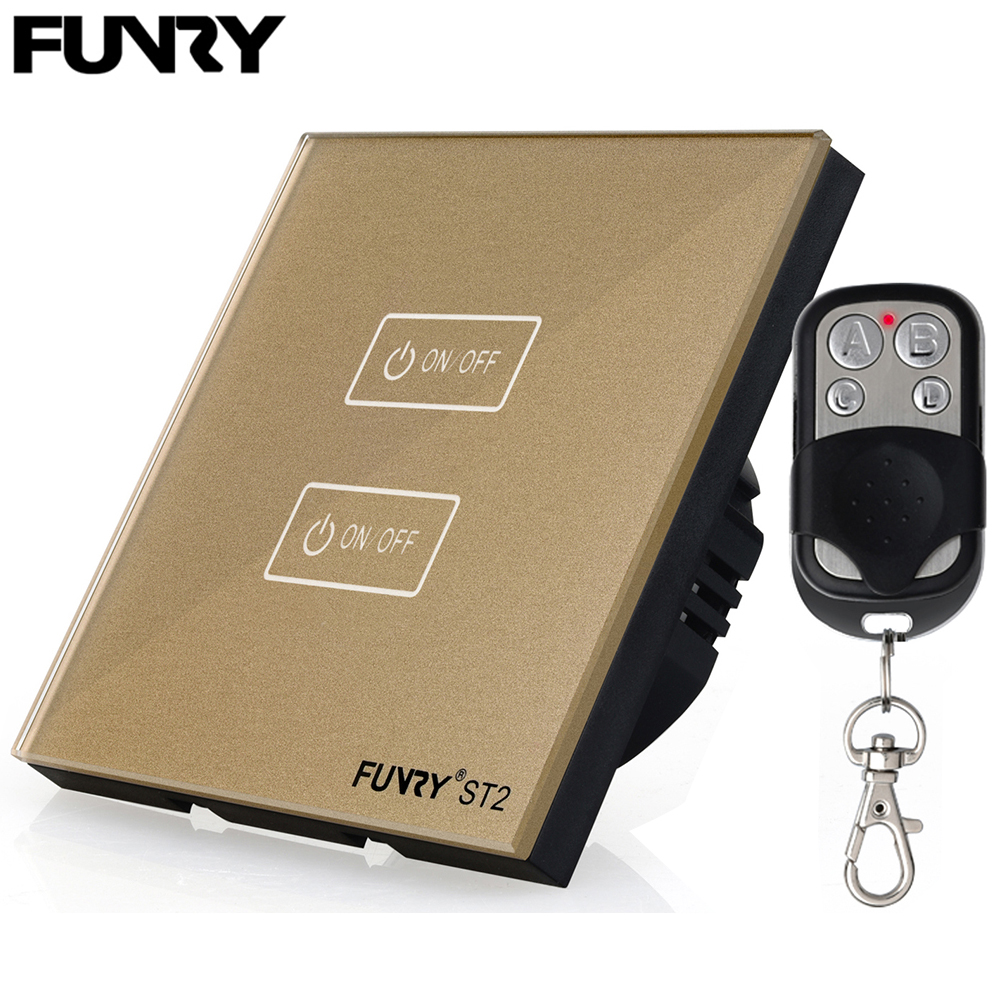 Funry EU standard 2 gang 1 way Smart Switch+Remote Control WIFI/APP RF433MHz Smart Control 170-240V 86*86*36mm Phone Control