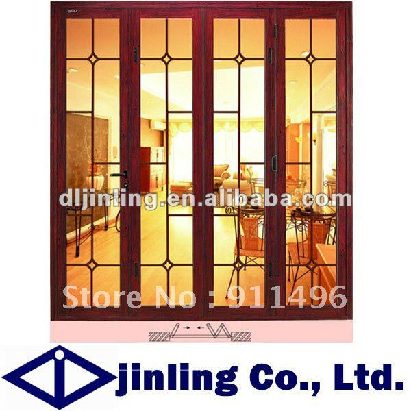 Folding Wooden Door Soundproof Folding Interior Door Froested Glass