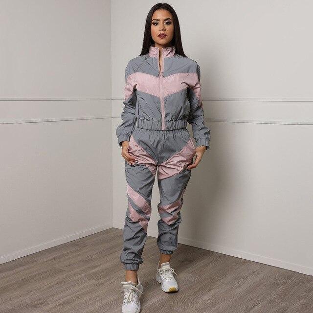 Donne Tute 2 Piece Set Riflettente Zip Crop Top Pantaloni di Modo Giacca A Vento Allentato Femminile Glow Giacca Cappotto Più I Pantaloni di Formato 3