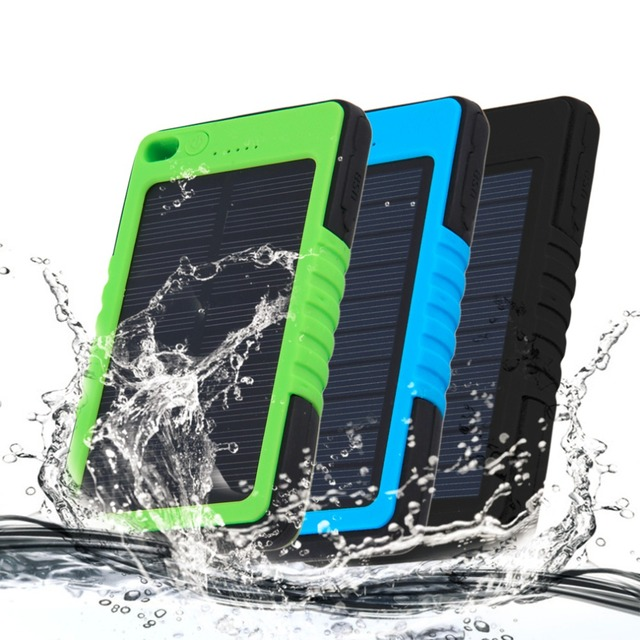 Universal 5000mAh Waterproof Solar Power Bank Portable Charger Outdoor Travel Enternal Battery Powerbank for iPhone6 6s Samsung