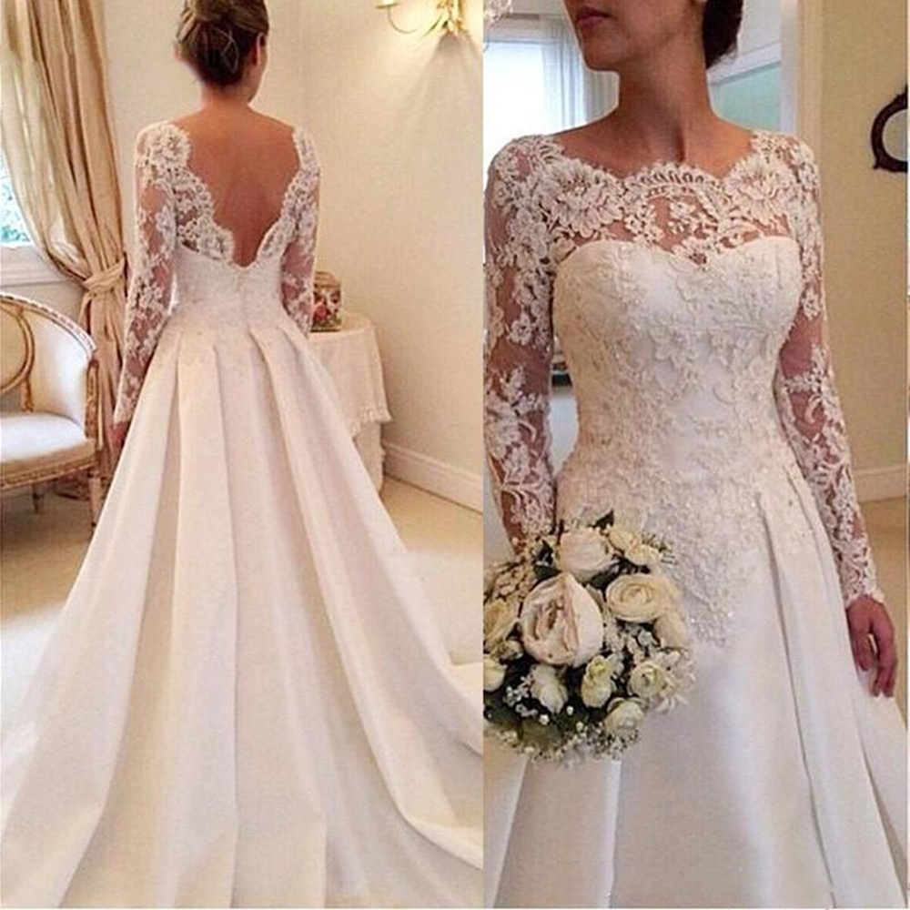 2019 Long Sleeve Wedding Dresses A Line Sheer Neckline Backless Lace And Satin Bridal Wedding Gowns