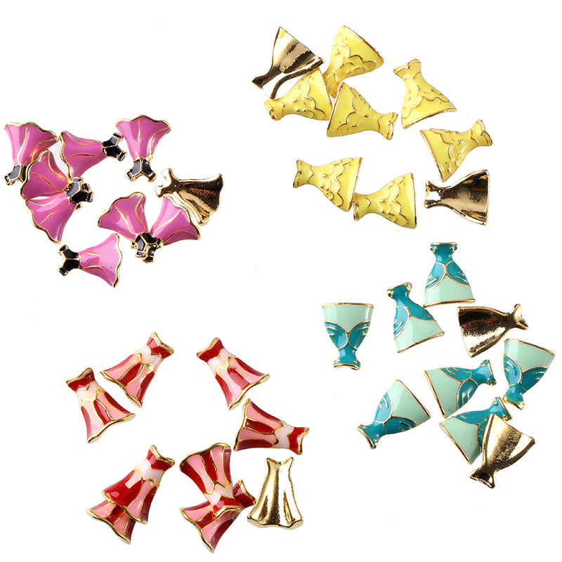 Blueness 10Pcs/lot Princess Dress 3D Rhinestones Nails Design Manicure UV Gel Nails Art Decorations Accessories Metal Studs