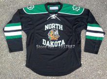 f7935c2af52 North Dakota Fighting Sioux University Black Green Hockey Jersey Embroidery  Stitched Customize any number and name