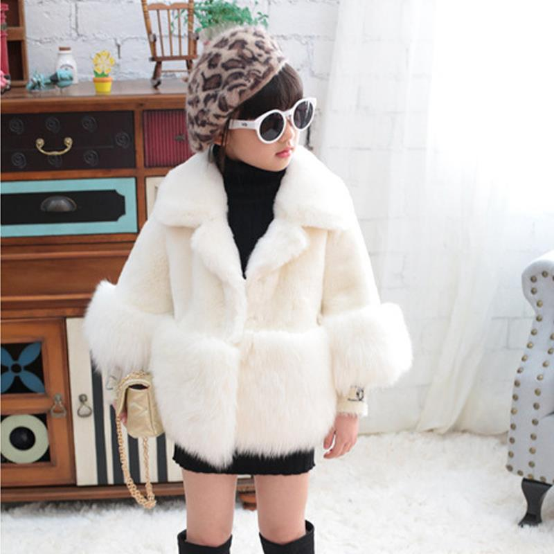 1a2bc035e 2018 Winter New Girl Fashion Fur Coat Children Clothing White Baby ...