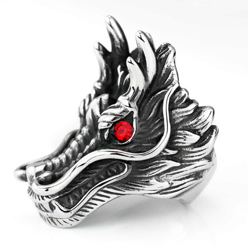 Горячая Распродажа, кольца с Головой Дракона для мужчин, панк-рок стиль, красный камень, праздничная бижутерия с кольцами, персонализированные преувеличенные кольца