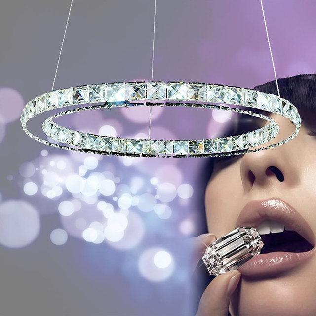 Modern Crystal Pendant Light Circle Suspension Dining Room Hanging Lamp Diamond Ring LED Lights Cristal Lustre de sala Lighting