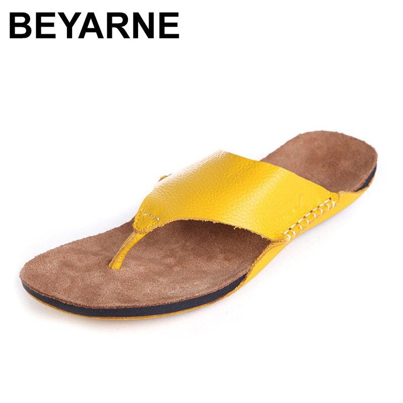Beyarne Обувь женщина Сланцы 100% натуральной кожи с открытым носком Сандалии Для Девочек Пляжные Направляющие женская летняя обувь женская обу...