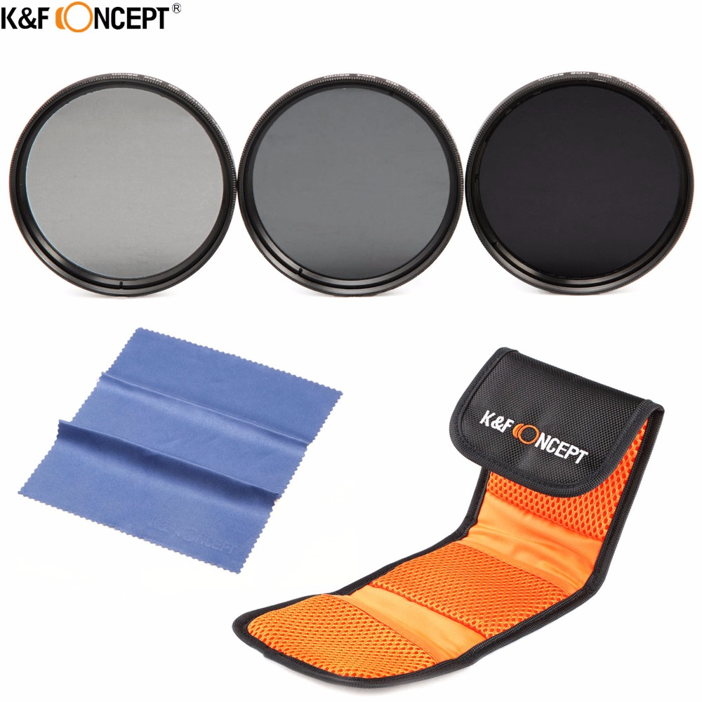 K&F CONCEPT 37mm Neutral Density ND2 ND4 ND8 ND 2+4+8 Filter Set Filter Case&Cloth Kit+Pouch+Cleaning Cloth For Camera