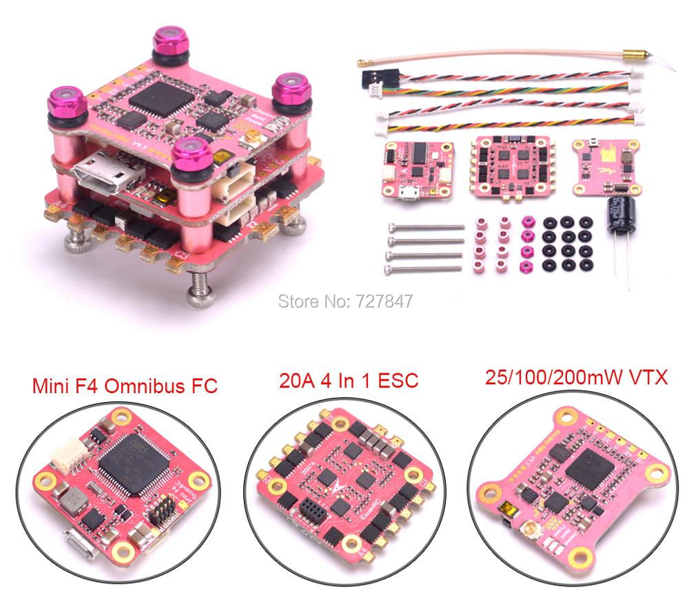 NEW Mini F4 Flytower Omnibus F4 AIO OSD Flight Controller 20A 4 in 1 BL_S ESC 48CH 25/100/200mW VTX RC Model Transmitter for FPV upgrated flytower f4 pro flight controller board integrated osd 40a 4 in 1 w transmitter esc for fpv drone spare parts
