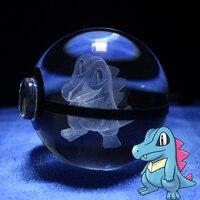 LED Lumière de Nuit Pokemon aller Table Lampe Pokeball Cristal Totodile Conception Sculpture 3D Balle Bébé Enfants Cadeaux