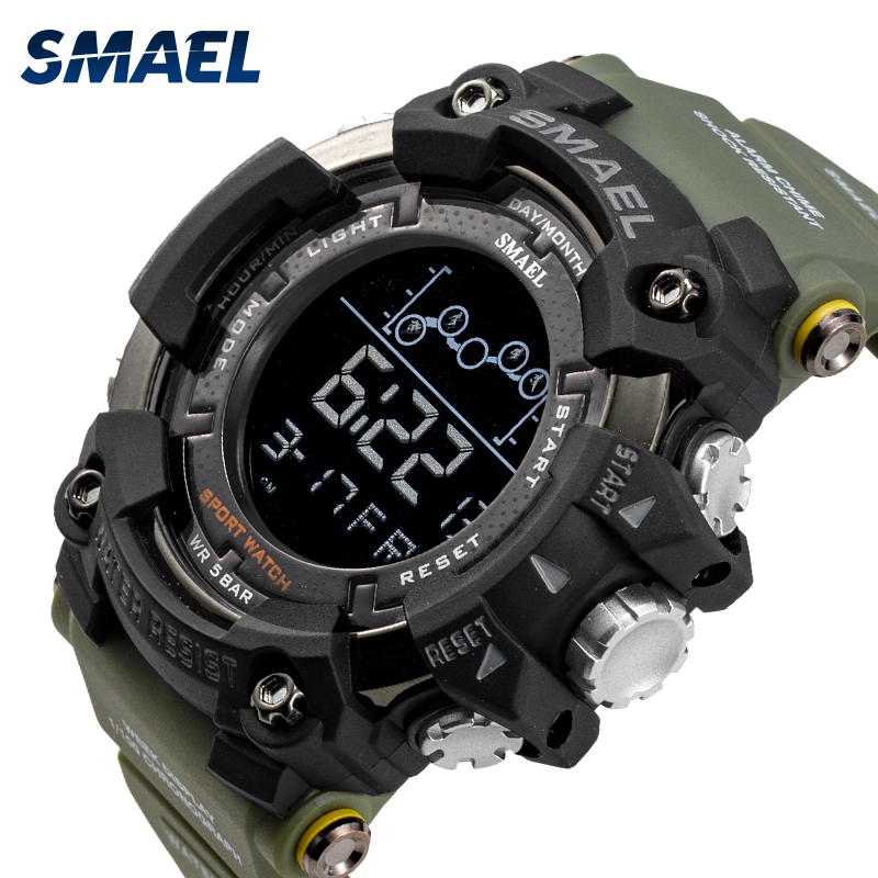 SMAEL Military Sports Watches Men Alarm Waterproof Watch LED Back Light Shock Digital Wristwatches Relogio Masculino 1802
