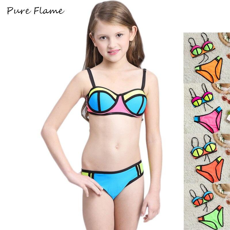 costume da bagno del capretto dei bambini 2017 nuovo colore di contrasto beachwear bikini ragazza adolescente