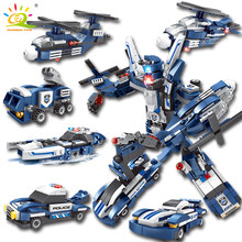 611pcs 6 In 1 Police War Generals technic Robot Car Compatible Legoed Building Blocks Kit city Educational Toy for Children gift(China)
