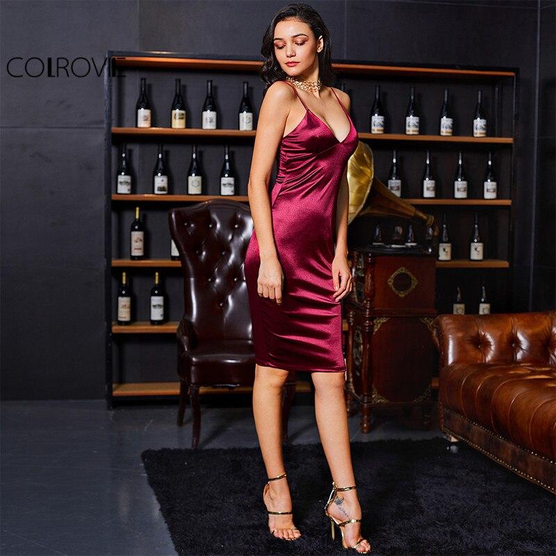 COLROVIE Borgoña satén vestido de fiesta en Club cuello V profunda vestidos de verano para mujeres Sexy Bodycon Correa acanalada damas Midi vestido