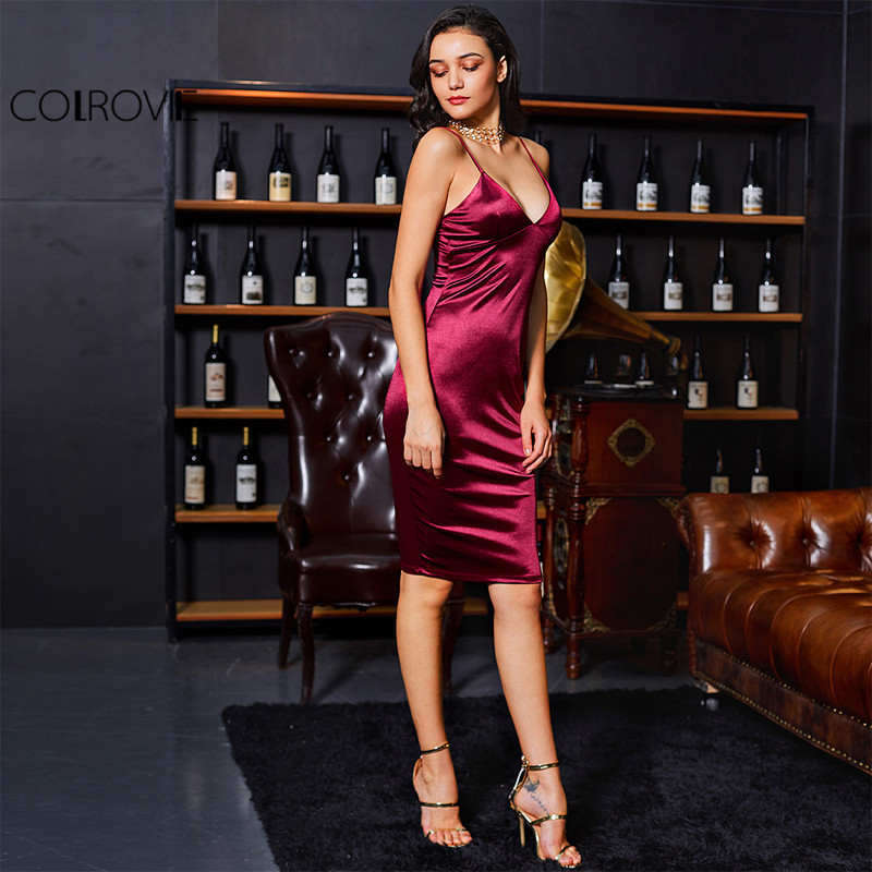 COLROVIE Burgundy Satin Party Club Kjole Deep V Neck Kvinder Sommer Kjoler Sexy Bodycon Strap Ruched Ladies Midi Slip Kjole