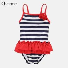 Charmo Baby Girls One Piece Swimsuits Stripe Printed Swimwear Kids lacework Bikini Cute Beach Wear Childrens One-Piece Suits