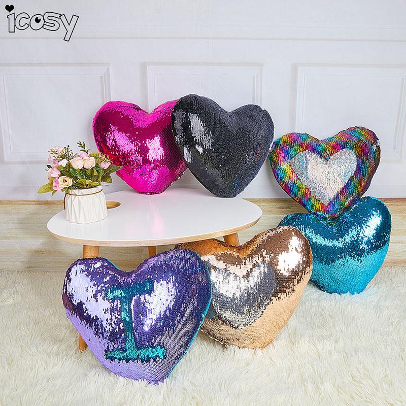 شكل قلب قوس قزح اللون حورية البحر - منسوجات منزلية