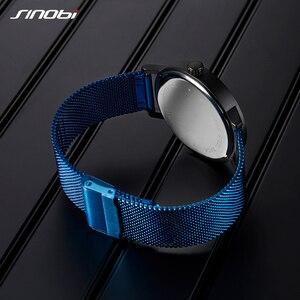 Image 5 - SINOBI Hohe Qualität Einzigartige Drehen Kreative Uhr herren Stahl Mesh Band Quarz Armbanduhren Sport Blau Mann Uhr Reloj Hombre