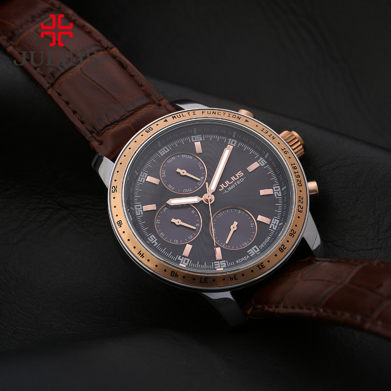 JULIUS Luxury Watch Men Limited Edition 3 dials Multi-function Leather Strap Steel Waterproof Whatch Freeship Top Brand JAL-036