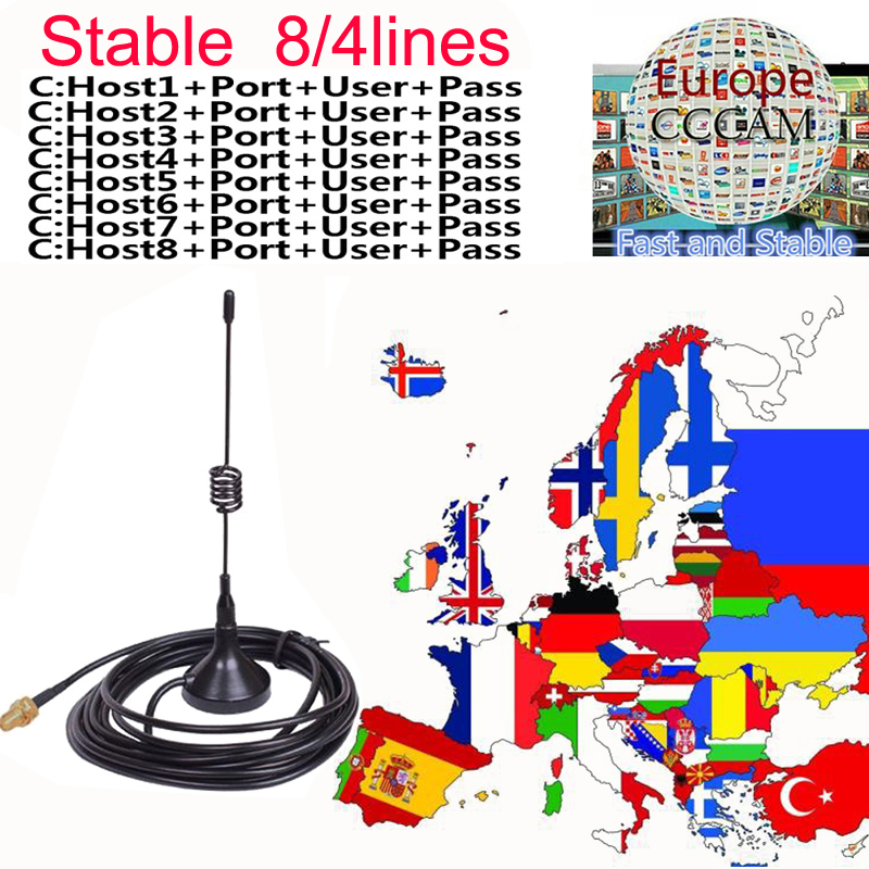 NEWEST 1.5 Year Spain Portugal Cccams For Satellite Receiver Lines WIFI FULL HD DVB-S2 Eroupe 8/4lines Ccams