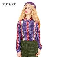 Elf sack primavera 2017 las mujeres de nueva loose vintage impreso plaid blusas Mezcla Señoras del Estilo Retro Tela Floral Camisa de Manga Larga femenino