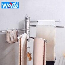 Towel Bar Stainless Steel Double Bathroom Towel Holder Wall Mounted Towel Rack Hanger Holder Hook Clothes Robe Towel Rail Hanger