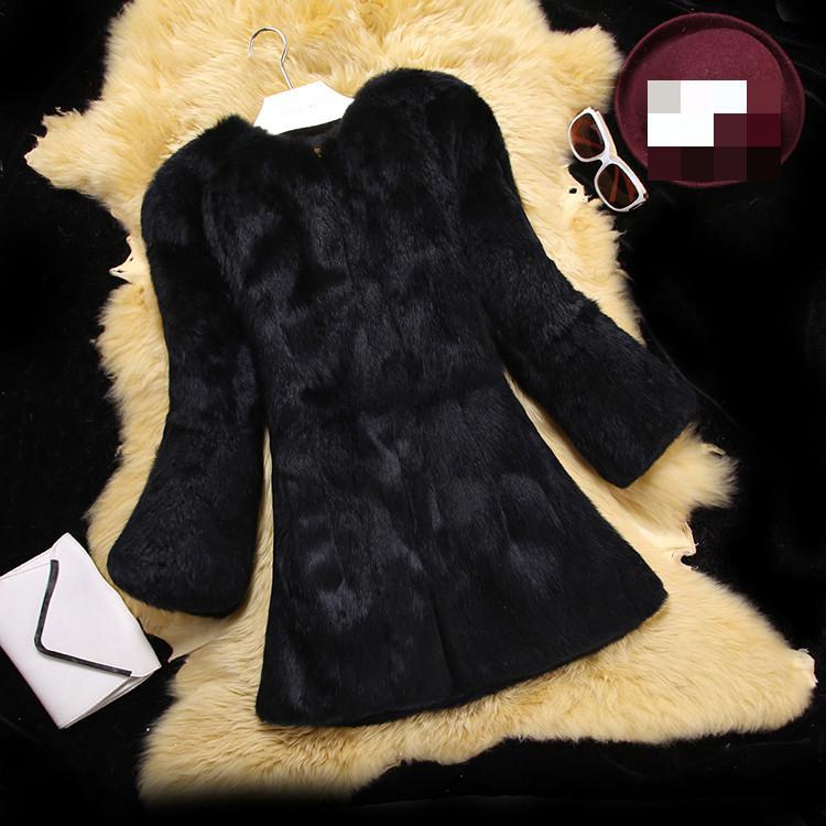 The Whole Skin Rabbit Fur Coat Slim Long Dresses 2018 Korean 9a11c