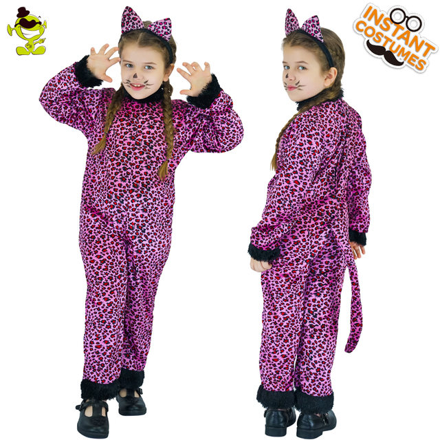 63c8aff35ced Girls Purple Leopard Costumes attach with Tail Children Animal Cosplay  Party Lovely Little Leopard Imitation Fancy Clothing
