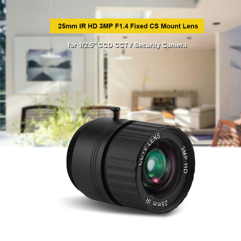 CCTV Camera Lens 25mm F1.4 Fixed Lense IR 1080P HD 3MP CS Mount Mega Lens For 1/2.5 CCD CCTV Security IP Camera цена