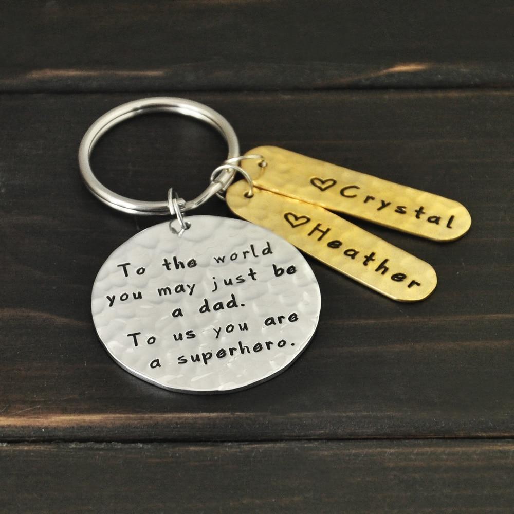Personalized Daddy Key Chain Custom Names Key Chains Hammered Personalized Keychain Daddy Personalised Keyring Father s