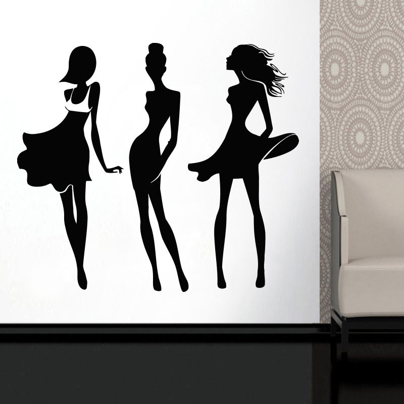 Set Of 3 Fashion Lady Design Vinyl Sticker Wall Art Murals For Clothing Boutique Window Decoration Self Adhesive Murals FS26 in Wall Stickers from Home Garden