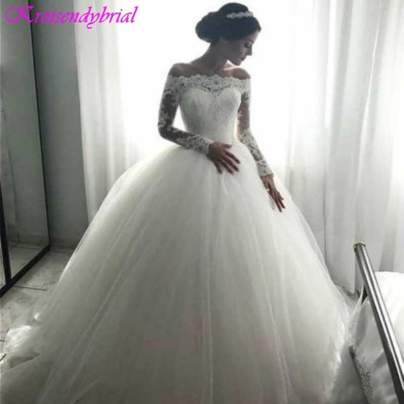 QFS043 robe de mariage vestido de Baile Mangas Compridas Vestidos de Casamento Fábrica Romântico de Rendas Inchado Vestidos de Noiva Vestidos De Noiva 2019
