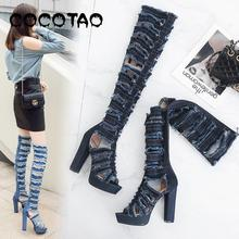 European Summer New Europe And The United States Big Yards Hot Style High Heel Cool Denim Womens Boots Knee-high Boots60