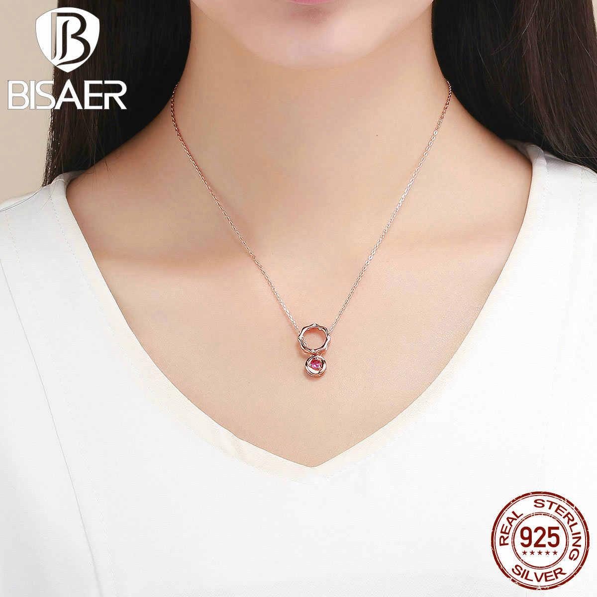 BISAER романтическая 925 пробы Серебряная роза в форме цветка Подвески Розовое золото Цвет Розовый циркон женские ожерелья серебряные ювелирные изделия EFN037