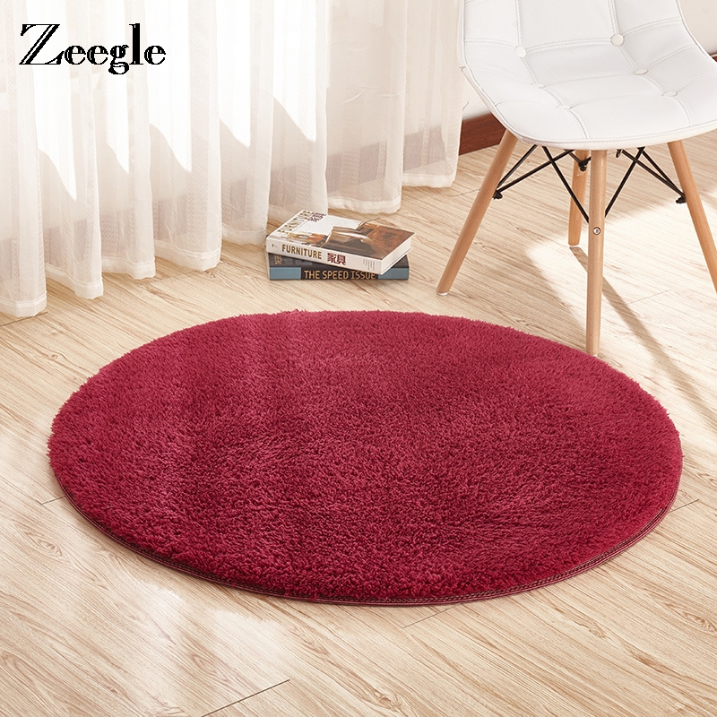 Zeegle Plush Shaggy Round Carpet For Living Room Absorbent Floor Mat Anti-slip Bathroom Rug Kids Room Computer Chair Rug