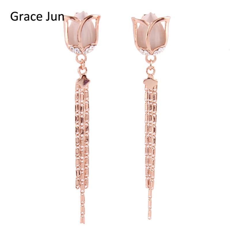 Grace Jun vysoce kvalitní dlouhý růžový květ střapec klip na náušnice bez piercingu pro ženy Party Weddng luxusní ušní klip
